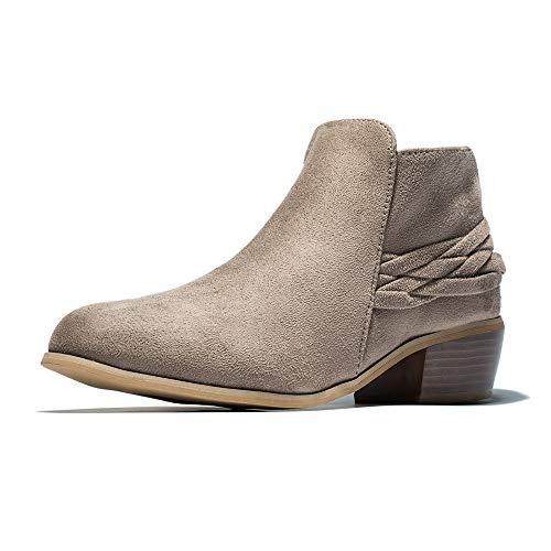 XMWEALTHY Women's Chunky Heel Ankle Booties Fashion Woven Short Boots Zipper Light Brown