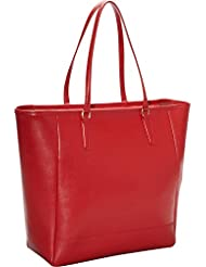 Royce Leather 24 Hour Executive Bag in Saffiano Leather Laptop Tote, Red, One Size