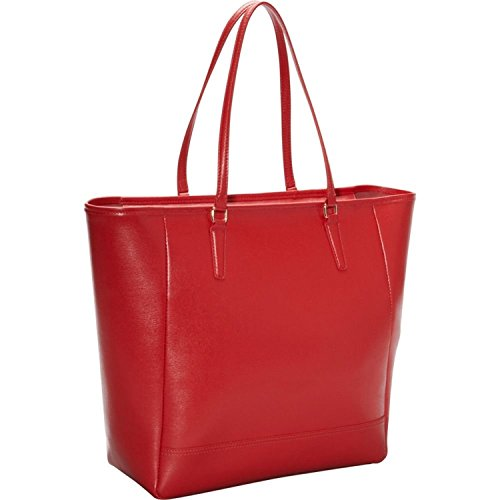 Royce Leather 24 Hour Executive Tote Bag in Saffiano Leather Laptop, Red, One Size