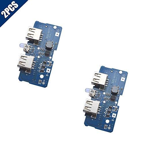 - KOOBOOK 2Pcs 3.7V Turn 5V 2A Boost Step Up Module Dual USB Charging Circuit Board PCB Board 4-Level LED Light Display for 18650 Lithium Battery Mobile Power Bank DIY