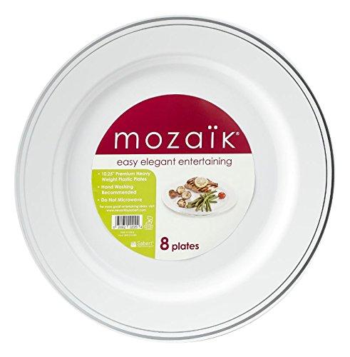 Mozaik 8-Piece Premium Plastic Round Dinner Plates