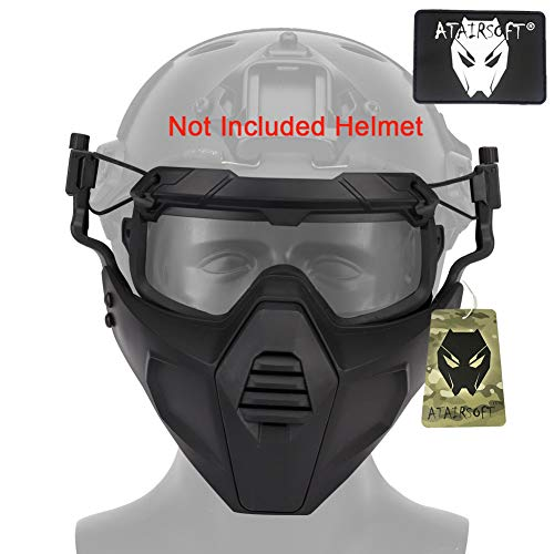 ATAIRSOFT Airsoft Tactical Paintball Half Face Protection Mask and Goggles Set Attach to Helmet