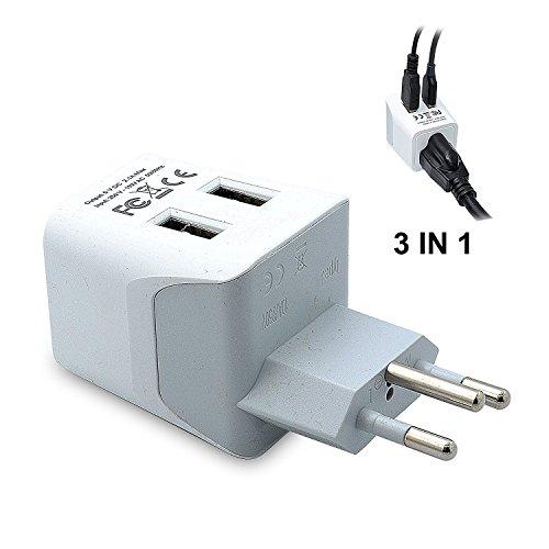 Ceptics CTU-11A USA to Switzerland Travel Adapter Plug With Dual USB - Type J - Ultra Compact...