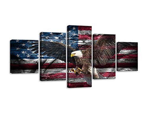 Wall Art Retro American Flag Bald Eagle US Military Canvas Painting Modern Home Decor 5 Panels HD Print Canvas Painting Decor for Living Room Framed Ready to Hang (60''W x 32''H, Artwork-03)