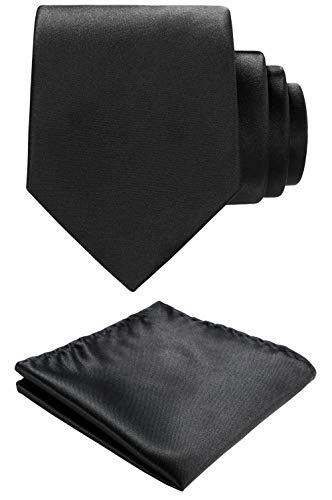 (Solid color Neck tie.Pocket Square,Gift Box set. (Black))