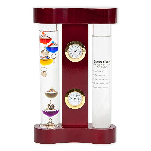 Bits and Pieces - Indoor Galileo Weather Station Includes Galileo Thermometer, Storm Glass, Clock and Hygrometer - Decorative and Sophisticated Gift or Home Accent (Station Weather Crystal)