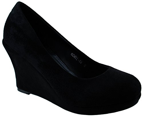 Moda Suede Pumps (Top Moda Shoes Women's Odell-88 Black Round Toe Slip On Faux Suede Nubuck Mid Heel Wedge Pumps 8.5 D(M) US)