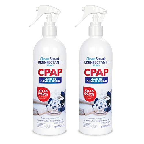 CleanSmart CPAP Disinfectant Spray, 16 Ounce Bottle (Pack of 2), Kills 99.9% of Viruses, Bacteria, Germs, Mold, and Fungus, Leaves No Chemical Residue