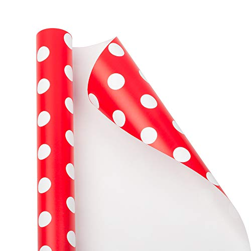 Dot Wrapping - JAM PAPER Gift Wrap - Polka Dot Wrapping Paper - 25 Sq Ft - Red with White Dots - Roll Sold Individually
