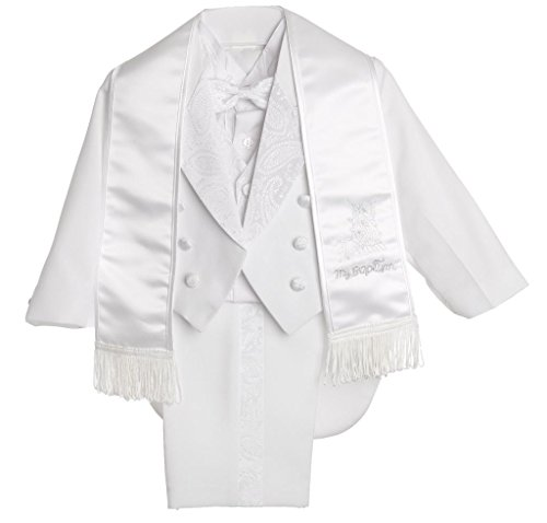 Boy White Tail Paisley Design Christening SilverWhite Embroidered Tuxedo ,(Medium ) 12M by CALDORE USA