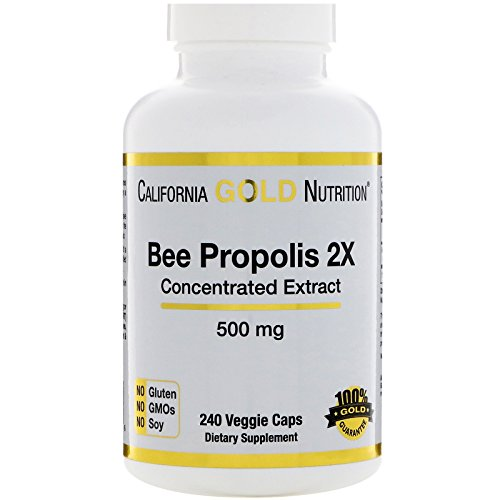 California Gold Nutrition Bee Propolis 2X Concentrated Extract 500 mg 240 Veggie Caps, Milk-Free, Fish Free, Gluten-Free, Peanut Free, Salt-Free, Soy-Free, Sugar-Free, Wheat-Free, Yeast-Free, CGN Review