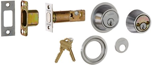 (Falcon D131P 626 C Keyway D100 Series Grade 1 Non-Handed Heavy Duty Deadlock, Deadbolt Chasis, Double Cylinder, Schlage C Keyway, 6 Pin Conventional Cylinder, Keyed Different, Satin Chrome Finish )
