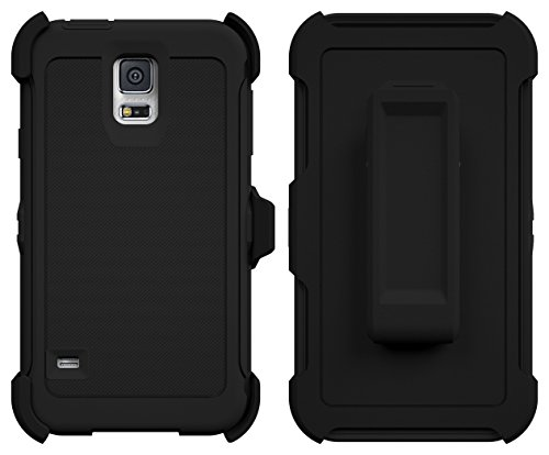 Clip Belt Snap (Galaxy S5 Case, ToughBox [Armor Series] [Shock Proof] [Black] for Samsung Galaxy S5 Case [Built in Screen Protector] [With Holster & Belt Clip] [Fits OtterBox Defender Series Belt Clip])