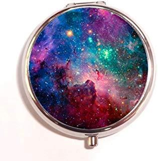 Generoc Galaxy Space Universe Custom Unique Silver Round Pill Box Medicine Tablet Organizer or Coin Purse (Pill Container For Purse)