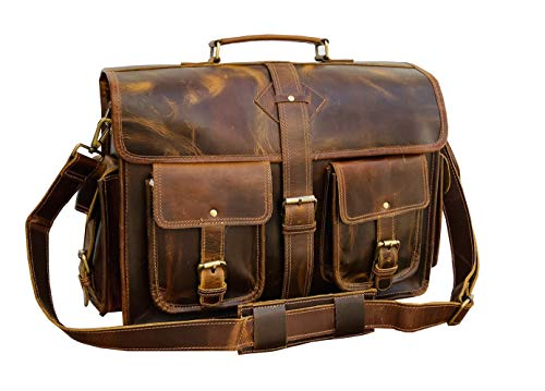 VC 18 Inch Vintage Handmade Leather Messenger Bag Laptop Briefcase Computer Satchel Bag for Men (Dark Brown)
