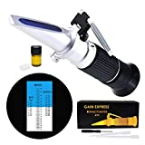 3-in-1 Honey Refractometer Brix/Moisture/Baume Tester Meter ATC, Tri-Scale 58-90%/12-27%/38-43Be', Sugar Water Content Level Beekeeping Maple Syrup, Test Kit w/Calibration Oil & Block