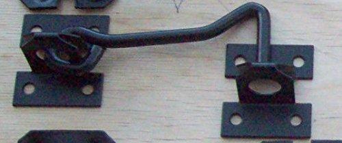 IRONMONGERY WORLDスチールブラック亜鉛めっきキャビンフックと目Shedゲートドアラッチ – 10インチ/250 mm – ブラック B00DDUSTF2
