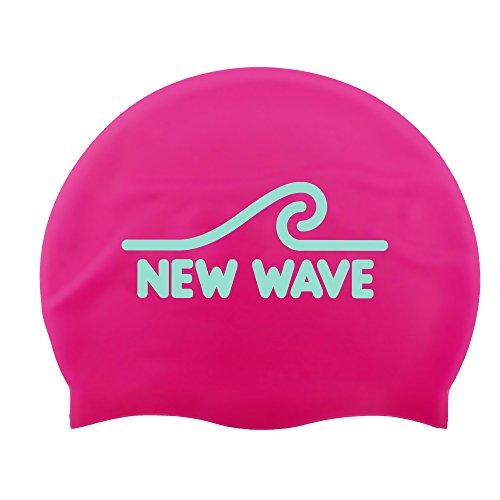 Silicone Wave (New Wave Swim Buoy Silicone Swim Cap (Pink))