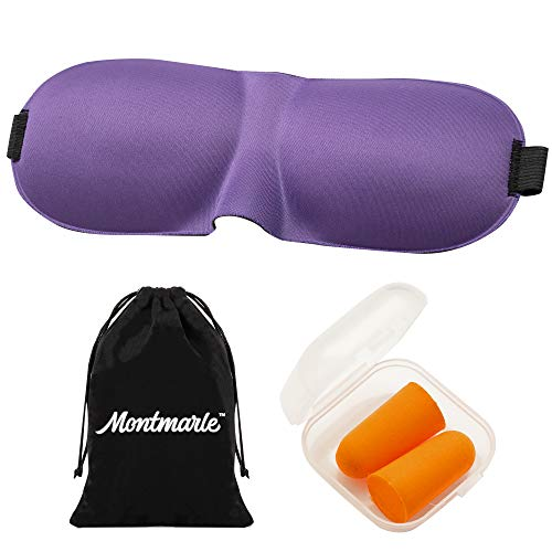 MONTMARLE Sleep Mask for Men and Women, 100% Light Blockout, Comfortable, Lightweight, Adjustable Eye Cover for Sleeping, Shift Workers and Travellers (Purple)