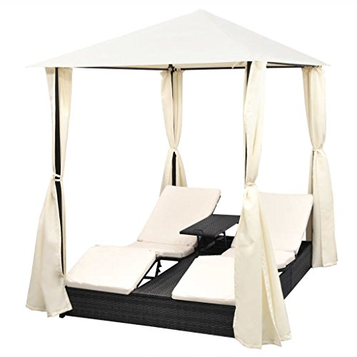 Festnight 2 Person Outdoor Patio Wicker Chaise Lounge Chairs Pool Day Bed with Curtains Poly Rattan