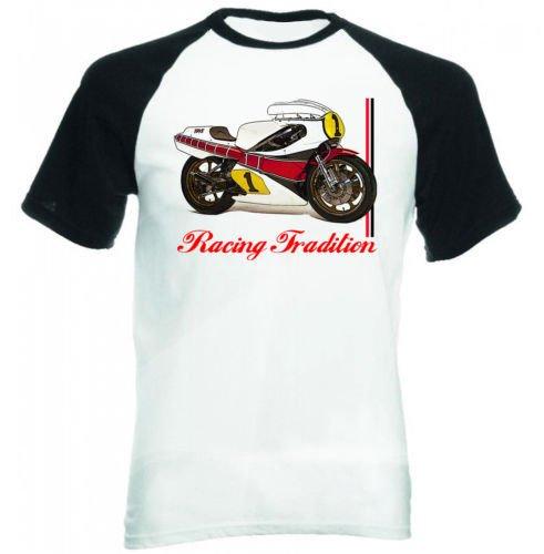 TEESANDENGINES YAMAHA RACING KENNY ROBERTS INSPIRED CAMISETA DE MANGAS NEGRA CORTAS T-shirt Size Small