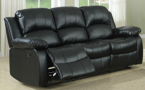 "Homelegance Resonance 83"" Bonded Leather Double Reclining Sofa, Black"