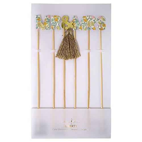 Meri Meri–libertad de amapolas y margaritas flores patrón mr & mrs boda decoración para tarta para