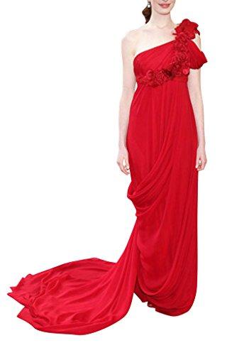 Ein GEORGE Schulter Rot Rot BRIDE Abendkleid Blumen Chiffon 7gxgwEqtr