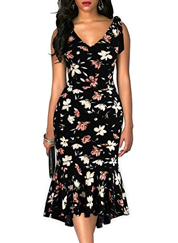 Drimmaks Women's V Neck Spaghetti Tie-Straps Beach Backless Fitted Mermaid High-Low Wedding Guest Dress (025-Black Floral 3, L)