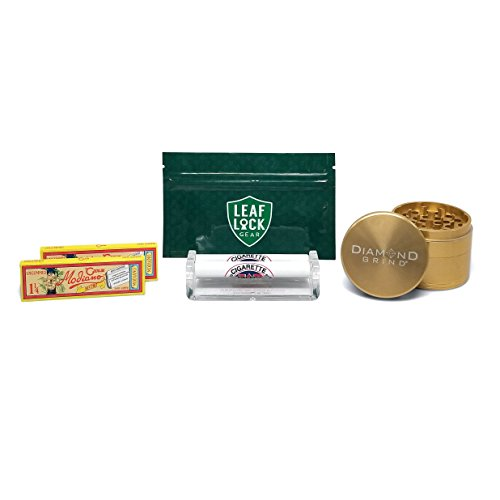 Club Modiano Rolling Papers Bistro (2 Packs), Job Plastic Cigarette Roller (79mm), Diamond Grind 56mm 4 Piece Grinder (Yellow), and Leaf Lock Gear Tobacco Pouch - 5 Items - Bundle