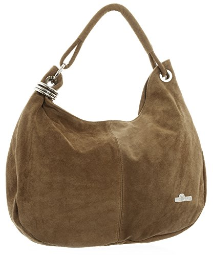 (LIATALIA - Womens Girls Large Real Italian Suede Leather Single Strap Hobo Boho Slouch Handbag Purse - FIONA [Medium Tan])