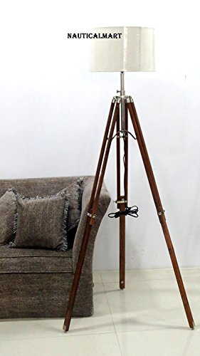 Natural Wooden Tripod Lamp Classical Industrial Floor Lamp By Nauticalmart -
