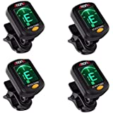Clip On Guitar Tuner For All Instruments, Ukulele, Guitar, Bass, Mandolin, Violin, Banjo, Large Clear LCD Display For Guitar Tuner. 4pack