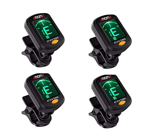 Clip On Guitar Tuner For All Instruments, Ukulele, Guitar, Bass, Mandolin, Violin, Banjo, Large Clear LCD Display For Guitar Tuner. 4pack from Fangstar