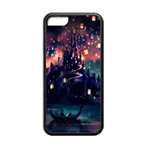CTSLR Laser Technology Cartoon Film Tangled TPU Case Cover Skin for Cheap Apple iPhone 5C-1 Pack- Black - 6