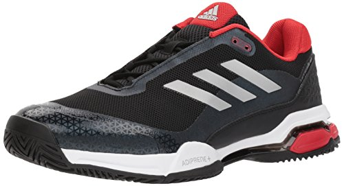 adidas Men's Barricade Club Tennis Shoe, Black/Matte Silver/White, 11 M US