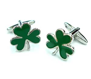 Lucky Green Irish Enamel Clover Leaf Cufflinks Cuff Links