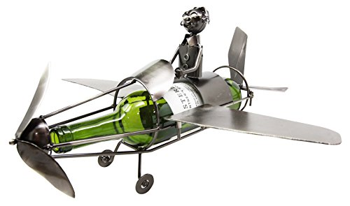(Leisure One Pilot Airplane Hand Made Metal Wine Bottle Holder Caddy)