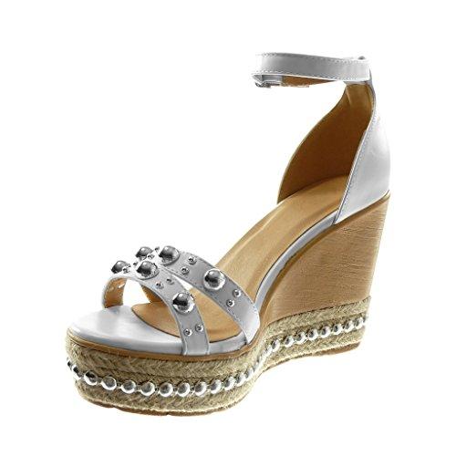 Sandale Plateforme Clouté Cheville Plateforme Blanc Compensé Talon 10 Perle Lanière Chaussure Angkorly Mode Mule Femme Bois 5 CM WOnxEwOY