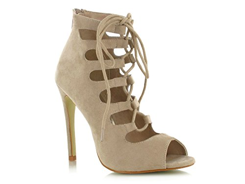 Good Deals Online Faux Suede Lace Up Gladiator Peep Toe High Heeled Stiletto Sandals Super Comfy For a Casual Summer Look Women's Daytime/Evening Holiday Footwear Beige Suede YphUSIoWYI