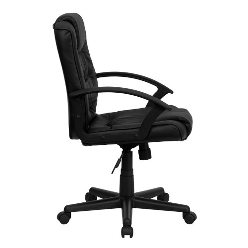 Flash Furniture Mid-Back Black Leather Swivel Task Chair with Arms