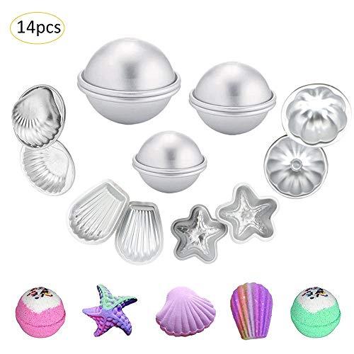 Unilive Bath Bomb Moulds Set 10/12/14/16 Pieces - Stylish Different Shapes DIY Bath Bomb Mould,Round Shape,Scallop Shape,Shell Shape,Starfish Shape,Petal Shape (14pcs)