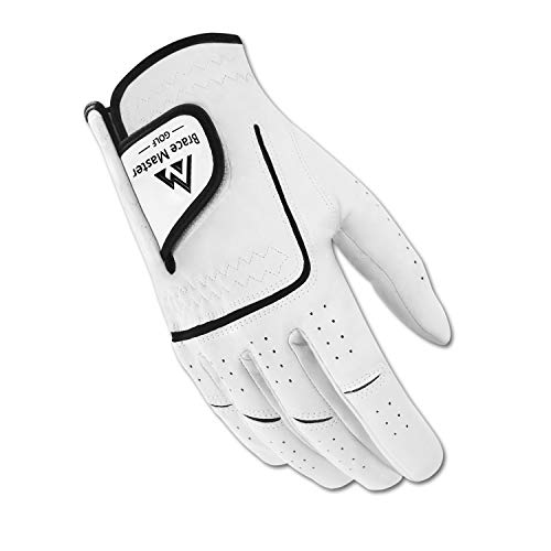 Brace Master Golf Gloves, Stabilized Grip Cabretta Leather Golf Gloves for Men and Women, Durable and Soft Suitable for All Weather, Left or Right Hand Single Golf Gloves (Right Hand -