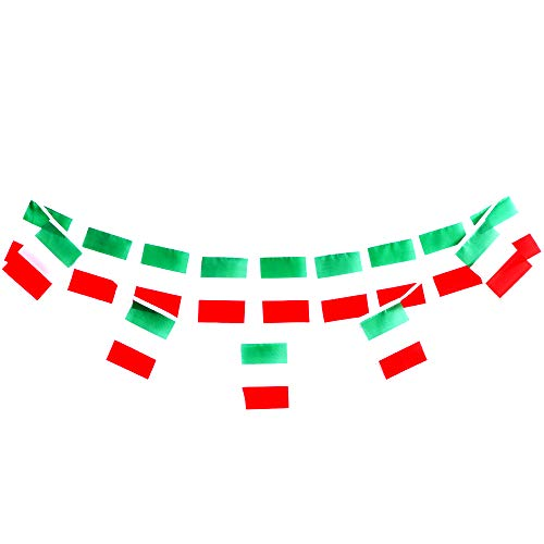 Italian Flag Banner Applied to Decorations 100feet/90pcs for Garden International Festival Decorations and Other Festive Country Themed Party Streamers Welcome -