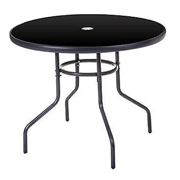 Table de jardin ronde 90cm en acier gris et verre noir MAELLA - L 90 ...