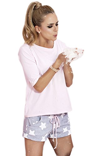 PIGEON Lingerie Pigiama Due Pezzi Donna Con Giacca a Maniche 3/4 e Pantaloni Corti in Confezione Regalo (P-504)
