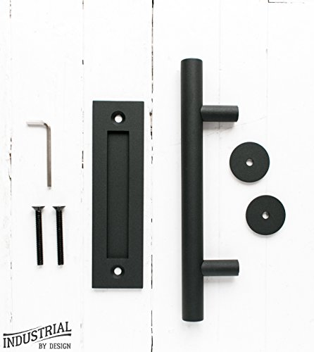 industrial by design barn door handle with flush pull 12in