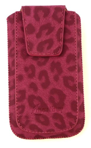 Emartbuy ® Value Pack Für Apple Iphone 4S / 4G / 4Gs Classic Range Faux Suede Leopard Rosa Slide In Pouch / Case / Sleeve / Halter (Größe Xl) Mit Magnetic Flap & Pull Tab Mechanism + Kompatibel Kfz-La