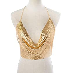 Gold Sequin With Chain Strap & Deep V-Neck T-Shirt