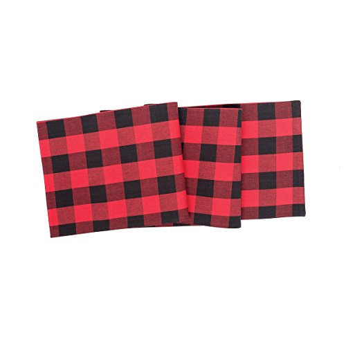 C&F Home Franklin Buffalo Check Gingham Plaid Woven Black and Red Cotton Table Runner 13x72 red ()